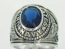 12x10 mm United States Navy Military September Blue Stone Men's Ring Size 10