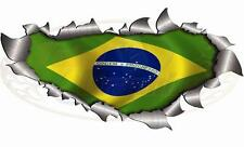 280mm Size Single Metal RipOpen Torn Brazil flag Sticker Car Truck Van World cup