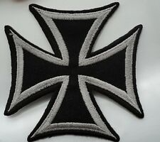 Embroidered GERMAN CROSS  iron/sew on patch appox size 8cmx8cm biker