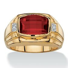 RED RUBY MENS 18K GOLD DIAMOND ACCENT GP  RING SIZE 8 9 10 11 12 13