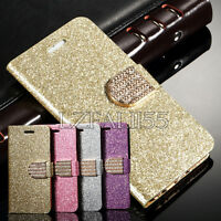 Bling Luxury Glitter Magnetic Flip Wallet PU Leather Case Cover For Samsung