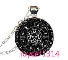 Celtic Wheel of the Year Cabochon Glass Silver Chain Pendant Necklace #XP-1072
