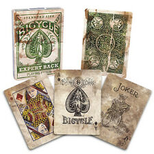 Bicycle Distressed Expert Back Deck - Green - Playing Cards - Magic Tricks - New