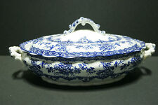 Keeling&Co. Ltd. Blue White Transferware Watford Flowers  covered casserole dish