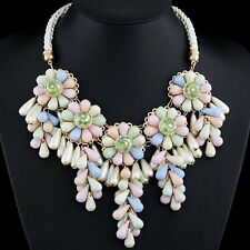 D17 Statement Acrylic Flower Pink Ivory Purple Faux Pearl Braided Rope Necklace