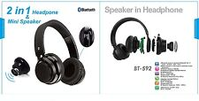 2-in-1 Wireless Bluetooth Headphones + Bluetooth Mini 3W Speaker Retail package