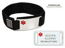 GLUTEN ALLERGY Sport Medical Alert ID Bracelet. Free medical Emergency Card!