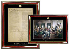 Constitution Replica Print & Signing of Constitution Mural Poster Frame Law Gift
