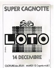 Publicité Advertising 1983 loterie Super cagnotte Loto