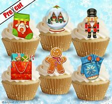 PRE-CUT CHRISTMAS MIX VII. EDIBLE WAFER PAPER CUP CAKE TOPPER DECORATIONS