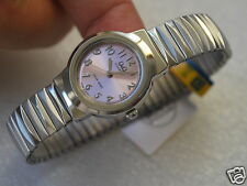 Nice NEW Q&Q by Citizen Silver Tone Lady Watch w/Expanion Band (Pink Color)