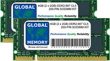 4GB 2x2GB DDR2 667MHz PC2-5300 200-PIN SODIMM INTEL IMAC & INTEL MACBOOK RAM KIT