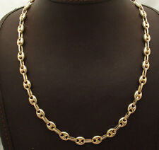 "17"" Technibond Puffed Mariner Gucci Chain Necklace 14K Yellow Gold Clad Silver"