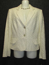 ANTONIO MELANI Off White Cotton Lace Jacket Blazer SZ 8 NEW