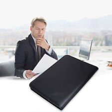 A4 Zipped Conference Folder Business Faux Leather Document Case Bag Portfolio
