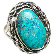 Large Tibetan Turquoise 925 Sterling Silver Ring Size 8.5 Jewelry R822835F
