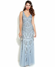 Adrianna Papell Blue Sleeveless Beaded Mermaid Gown Size 16 RRP £330 Box4605 D