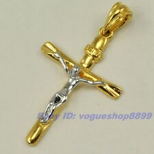 "2.05"" REAL STYLISH 18K YELLOW WHITE GOLD GP CROSS JESUS PENDANT SOLID FILL V11"