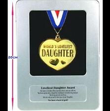 New in Bag LOVELIEST DAUGHTER AWARD Gold Medal Framed in a Tin Case