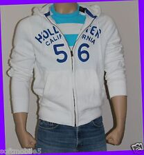 Hollister Co. Men's MEDIUM M White Hoodie Full Zipper Blue Logo Embroidery