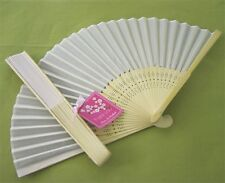 50 NEW Personalized Cherry Blossom White Silk Fans Wedding Party Favors Lot
