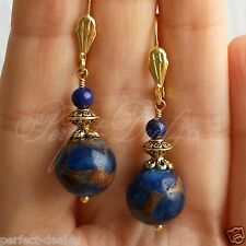 Blue Saphire in Quartz with Pyrite & Lapis Lazuli Gold Plated Leverback Earrings