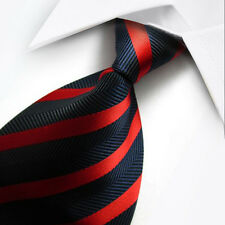 UK0038 Blue Red Striped New Silk Classic JACQUARD Woven Men's Tie Necktie
