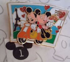 Mickey & Minnie Mouse on Scooter Paris Eiffel Tower Postcard Slider Disney Pin