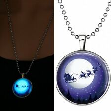 Fashion Xmas Santa Claus Glow in the Dark Stainless Steel Chain Pendant Necklace