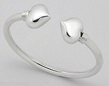 17g Solid Sterling Silver 18mm Thick Touching Heart Bangle Bracelet FABULOUS