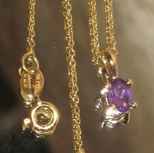GENUINE AFRICAN AMETHYST 18K YELLOW GOLD OVER .925 STERLING SILVER NECKLACE