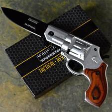 TAC-FORCE Silver Handgun Pistol Revolver Spring Assisted Folding Pocket Knife