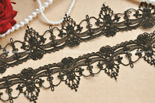 "2 Yards Exquisite Black Venice lace Trim Aulic Palace Lace Necklace 1.96"" width"