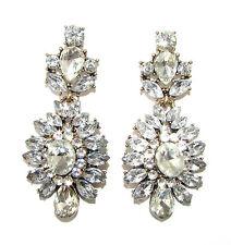 ...Silver Art Deco Rhinestone Earrings 1920s Vintage Stud Bridal Bronze Drop 982