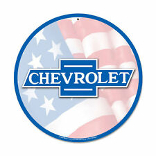Original GM Chevy Chevrolet Emblem USA Flag Flagge Retro Sign Blechschild Schild