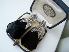 GORGEOUS VINTAGE LARGE SOLID STERLING SILVER MARCASITE & ONYX SWAN EARRINGS RARE