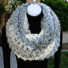 Large INFINITY SCARF LOOP COWL Cream Blue Gray Bulky Thick Soft Circle Winter