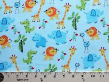 Flannel Cute Zoo Animals on Light Blue Kids Flannel Cotton Fabric Print D277.03