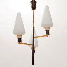 Lampadario anni '50 ottone e vetro, nello stile Arredoluce, 50s brass
