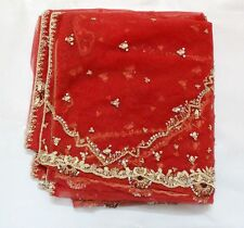 Indian Dupatta Long Stole Net Hand Beaded Wedding Veil Zardozi Sequins Red