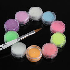 10Pcs Neon FLUORESCENT Nail Art Acrylic Powder No. 8 Kolinsky Sable Brush Kit