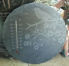 Nach Slate Mounted Thermometer Bird And Tree Round Outdoor Thermometers