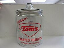 NEW 1 GAL. GLASS TOM'S JAR WITH LID DELICIOUS TOM'S TOASTED PEANUTS