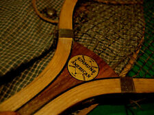 ANTIQUE VINTAGE WOOD TENNIS RACKET c.1920 SIMMONS AMERICAN WITH CASE +