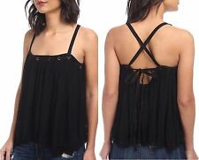 Free People Black Rayon Gauze Waiting For You Tank Top F888t811, S P- MSRP $78