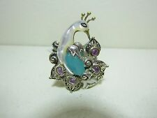 BARBARA BIXBY STERLING 18K BLUE CHALCEDONY AMETHYST PEACOCK RING NEW SIZE 8