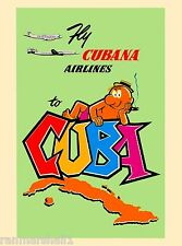 Cuba Caribbean Island Cuban Cubana Airlines Vintage Travel Advertisement Poster