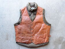 Vintage 80s Schott Leather Down Vest Size 44 Brown Western Cowboy Winter USA