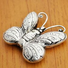 BD1857 Butterfly Focal Bead Tibetan Nepalese Repousse  Silver Plated Nepal Tibet