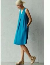 NVT Eileen Fisher Silk Georgette Crepe V-Neck Dress Jewel PM $338